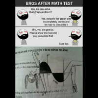 Be Like, Meme, and Memes: BROS AFTER MATH TEST  Bro, did you solve  that graph problem?  Yes, actually the graph was  incompletely drawn and  we had to complete it  Bro, you are genius.  Please show me how did  you complete that  Sure bro  HAN DE TINL DIEN TICH HINH PHANG  HPHAN DÉ TIN  a,b] thi diçn tich S e  só y fx), true ho  hang gi i han bi do thi cúyhem sóysf(x)-r-1.  hoanh. Twitter: BLB247 Snapchat : BELIKEBRO.COM belikebro sarcasm meme Follow @be.like.bro