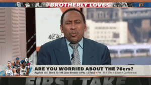 RT @Ballislife: 😂 Stephen A. Smith on Joel Embiid's scoreless performance vs the Raptors!   Via @FirstTake  https://t.co/ZGOIj2Qnqq: $BROTHERLY LOVE LE  NEW  'ZIHa  PHILA  21  ARE YOU WORRIED ABOUT THE 76ers?  Raptors def. 76ers 101-96 (Joel Embiid: 0 Pts, 13 Reb) PHI: 11-6 (5th in Eastern Conference)  93  25  SIPST TAK RT @Ballislife: 😂 Stephen A. Smith on Joel Embiid's scoreless performance vs the Raptors!   Via @FirstTake  https://t.co/ZGOIj2Qnqq