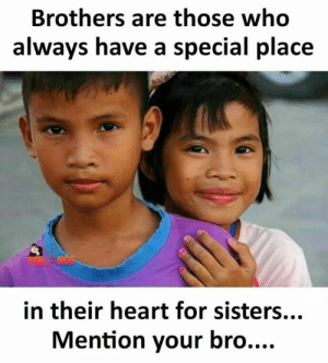 Memes, Heart, and 🤖: Brothers are those who  always have a special place  in their heart for sisters.  Mention your bro....