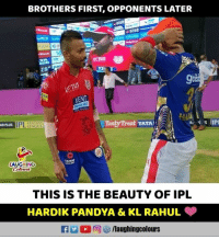Indianpeoplefacebook, League, and Ipl: BROTHERS FIRST, OPPONENTS LATER  CE  KE T  US  ex  KENT  Minnal Ro  FANTASY  LEAGUE  Tasty Treat TATA  AR PLUS  A slIP  LAUGHING  THIS IS THE BEAUTY OF IPL  HARDIK PANDYA & KL RAHUL #HardikPandya #KLRahul #MIvKXlP