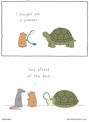 Afraid of dark, Don't worry: | brought you  present  he's afraid  of the dark.  © liz climo  thelittleworldofliz.com Afraid of dark, Don't worry