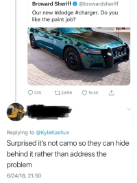 Doge: Broward Sheriff@browardsheriff  Our new #dodge #charger. Do you  like the paint job?  320 3,659 15.4K  Replying to @KyleKashuv  Surprised it's not camo so they can hidee  behind it rather than address the  problem  6/24/18, 21:50