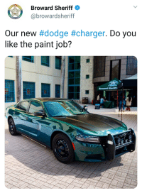 Broward Sheriff showcases their new Dodge Charger: Broward Sheriff  @browardsheriff  RD C  Our new #dodge#charger. Do you  like the paint job?  Broward Sheritt Broward Sheriff showcases their new Dodge Charger