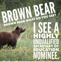 I mean... out of the mouth of those grizzly bear threats to schools everywhere! 🐻😂😫: BROWN BEAR  BROWN BEAR WHAT DO YOU SEE?  SEEA  HIGHLY  UNQUALIFIED  ー/eLA SECRETARY OF  EDUCATION  NOMINEE I mean... out of the mouth of those grizzly bear threats to schools everywhere! 🐻😂😫