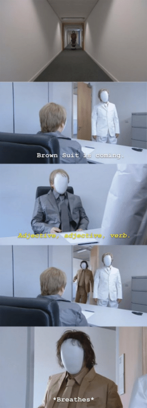 Verb, Suit, and Adjective: Brown Suit is comina  djectsve adjective verb  *Breathes* [] https://t.co/yWnGzB61xX