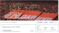 LOL Browns fans set up a Facebook Event for an 0-16 parade: Browns Perfect Season Parade (0-16)  Public Festival Hosted by Reflog 18  Saturday, January 7,2017 at 1 PM EST  o FirstEnergy Stadium  Show Map  100 Alfred Lerner Way, Cleveland, Ohio 44114  Interested Going Share  GUESTS  1.4K.  1.3K  3K  interested  going  shared with LOL Browns fans set up a Facebook Event for an 0-16 parade