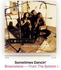 Vibing to this slept-on album get while the coffee brews.. Brownstone RIPMaxee she murked this track!: BROWNSTONE  FROM THE UP  4:20  0:42  Sometimes Dancin'  Brownstone  From The Bottom U Vibing to this slept-on album get while the coffee brews.. Brownstone RIPMaxee she murked this track!