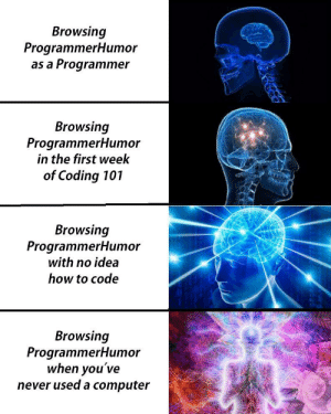 the People of ProgrammerHumor: Browsing  ProgrammerHumor  as a Programmer  Browsing  ProgrammerHumor  in the first week  of Coding 101  Browsing  ProgrammerHum or  with no idea  how to code  Browsing  ProgrammerHumor  when you've  never used a computer the People of ProgrammerHumor