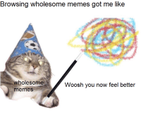 <p>whoosh</p>: Browsing wholesome memes got me like  wholesome  memeS  Woosh you now feel better <p>whoosh</p>