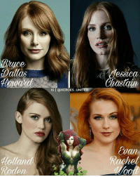 Batman, Dope, and Joker: Bruce  Dallas  Hollar  Roden  IG T @HEROES UNITED  dessica  Chastain,  an From @heroes_united - So here's my Fan Cast for Poison Ivy. Who do you think should play the character in the DCEU? - batman superman joker theflash DCComics suicidesquad dawnofjustice batmanvsuperman JusticeLeague epic cool harleyquinn picoftheday instadaily poisonivy instagood followme robin arrow gotham dope DC