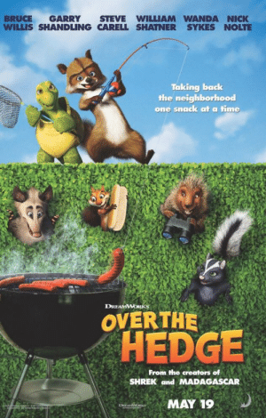 A group of Mexicans attempting to climb over Trump's wall (2018): BRUCE GARRY STEVE WILLIAM WANDA NICK  WILLIS SHANDLING CARELL SHATNER SYKES NOLTE  Taking back  the neighborhood  one snaack at a time  DREAMWORKS  OVERTHE  OHEDGE  From the creators of  SHREK and MADAGASCAR  MAY 19 A group of Mexicans attempting to climb over Trump's wall (2018)