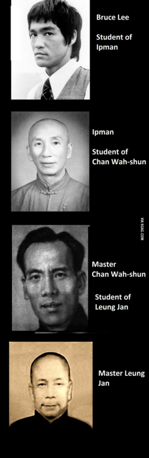 Four generations of legends. Students and masters.: Bruce Lee  Student of  Ipman  Ipman  Student of  Chan Wah-shun  Master  Chan Wah-shun  Student of  Leung Jan  Master Leung  Jan Four generations of legends. Students and masters.