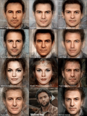 Batman, Clark Kent, and Doctor: Bruce Wayne/Batman  Clark Kent/Superman/K  Peter ParkeriSpider-Man  Bruce Banner/The Hulk  James Bond  Jack Ryan  Selena Kyle/Catwoman  Wonder Woman/Diana Prince  Frank Castle/The Punisher  Wolverine  Doctor Who  Sherlock Holmes Combining the faces of actors who played a certain character