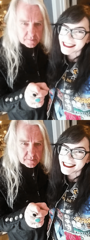 Bored, Lazy, and Selfie: bruceedickinson:  bruceedickinson:  So I got bored last night and wanted to see if I could fix the quality of my selfie with Biff Byford from when I met Saxon this past April; it worked, I'm SO happy with the result 🙌(original on the left, edited on the right)  I was tagged to post a selfie by @misshammett, @ethereal-valky, @lord-worms-shakespeare-class, @scarsoftheshatteredsky, @lafemmedemon, @gabibakos and @rammstein4ever, thank you all! I'm a lazy bastard so I'm just gonna recycle an old one (again). I tag anyone who wants to do this