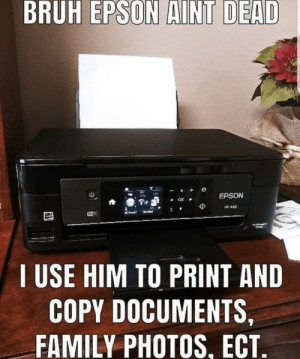 Be Like, Bruh, and Family: BRUH EPSON AINT DEAD  EPSON  OK  xe 440  WiF  I USE HIM TO PRINT AND  COPY DOCUMENTS,  FAMILY PHOTOS, ECT. Epson Be Like: *Fax Noises*