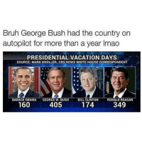 My best friend & i act lesbian around guys that aren't attractive to us, and if thats not true love idk what is: Bruh George Bush had the country on  autopilot for more than a year lmao  PRESIDENTIAL VACATION DAYS  SOURCE: MARK KNOLLER, CBS NEWS WHITE HOUSE CORRESPONDENT  BARACK OBAMA  GEORGE W. BUSH  BILL CLINTON  RONALD REAGAN  174  160  405  349 My best friend & i act lesbian around guys that aren't attractive to us, and if thats not true love idk what is