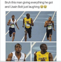Legend: Bruh this man giving everything he got  and Usain Bolt just laughing  BOL  CANADA  AH  E GRASSE  GREAT BRITA Legend