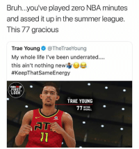 Savage! 🔥  (via BothEyesO_Open/Twitter): Bruh...you've played zero NBA minutes  and assed it up in the summer league.  This 77 gracious  Trae Young@TheTraeYoung  My whole life l've been underrated....  this ain't nothing new  #KeepThatSameEnergy  NBA2 19  FIRST  LOOH  TRAE YOUNG  RATING  OVERALL  01 Savage! 🔥  (via BothEyesO_Open/Twitter)