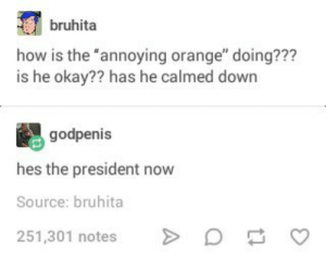 "Annoying orange is probably more qualified: bruhita  how is the annoying orange"" doing???  is he okay?? has he calmed down  godpenis  hes the president now  Source: bruhita  251,301 notes Annoying orange is probably more qualified"
