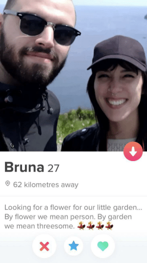 That escalated quickly: Bruna 27  62 kilometres away  Looking for a flower for our little garden...  By flower we mean person. By garden  we mean threesome.  X That escalated quickly