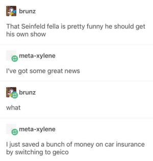 Funny, God, and Money: brunz  That Seinfeld fella is pretty funny he should get  his own show  meta-xylene  I've got some great news  brunz  what  meta-xylene  I just saved a bunch of money on car insurance  by switching to geico Oh thank god