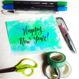 Instagram, Life, and New Year's: BRUSH calligraphy: Happy New Year!Calligraphy by @janedoeph, Instagram Live the CalligraphyLife.org