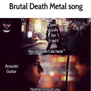 Apparently, Death, and Guitar: Brutal Death Metal song  Clean  Mentel  Proud  Vocals  for  www  5 secs.  You shouldn't be here  Acoustic  Guitar  Neither should you  @mentalnproud Well it makes you a Poser, apparently