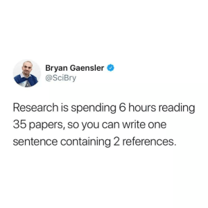 References: Bryan Gaensler  @SciBry  Research is spending 6 hours reading  35 papers, so you can write one  sentence containing 2 references.