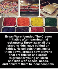 What a brilliant idea! We need more people to pay it forward like this in our world 💡💙🙌: Bryan Ware founded The crayon  Initiative after learning that  restaurants throw away all the  crayons kids leave behind on  tables. He collects them, melts  them down, creates new crayons  that are thicker and easier  to grasp for young children  and kids with special needs,  and delivers them to local hospitals. What a brilliant idea! We need more people to pay it forward like this in our world 💡💙🙌