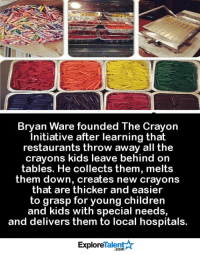 What a brilliant idea! We need more people to pay it forward like this in our world 💡💙🙌: Bryan Ware founded The crayon  Initiative after learning that  restaurants throw away all the  crayons kids leave behind on  tables. He collects them, melts  them down, creates new crayons  that are thicker and easier  to grasp for young children  and kids with special needs,  and delivers them to local hospitals.  Talent  Explore What a brilliant idea! We need more people to pay it forward like this in our world 💡💙🙌