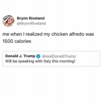 Memes, Chicken, and Trump: Brynn Riveland  @BrynnRiveland  me when I realized my chicken alfredo was  1500 calories  Donald J. Trump @realDonaldTrump  Will be speaking with Italy this morning! Honestly feeling personally attacked by Alfredo rn 😩🍝