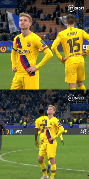 Barcelona players when they found out Liverpool qualified for the next round of Champions League  https://t.co/QAaHM3Y9oD: BT SPORT  LENGLET  15  akuten  RES  EF  unicef   BT SPORT  UM  okuten  ON.org  ИЕ Barcelona players when they found out Liverpool qualified for the next round of Champions League  https://t.co/QAaHM3Y9oD