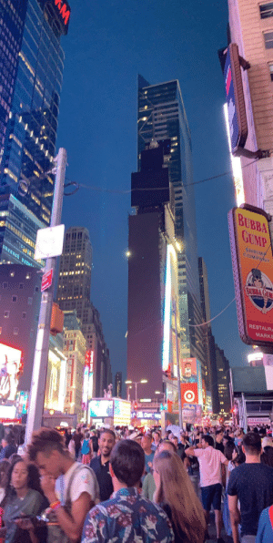 Bubba, New York, and Blacked: BUBBA  GUMP  COMPIA  AVIAAS  BUBBA GUM  RIM  RESTAUR  MARKE  TAN LAUNDKS  AM Blacked out Times Square during my first trip to New York 🙃