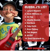 Bubba, Charlie, and Dank: BUBBA J'S LIST  1. Lynyrd Skynard  2. Hank Williams Jr.  3. ZZ Top  4. Charlie Daniels  5. Kid Rock  6. Toby Keith  7. Brad Paisley  8. Ted Nugent  9. AC/DC  10. Dale Earnhardt Jr.  GO TO  COM Bubba J wanted to play along and list 10 concerts he's been to... 9 are true, one is a lie. Which one? What does your concert list look like?