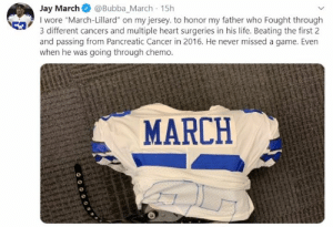 """Bubba, Jay, and Life: @Bubba_March 15h  Jay March  I wore """"March-Lillard"""" on my jersey. to honor my father who Fought through  3 different cancers and multiple heart surgeries in his life. Beating the first 2  and passing from Pancreatic Cancer in 2016. He never missed a game. Even  when he was going through chemo.  MARCH The reason Justin March used to go by Justin March-Lillard.  ---ARI---"""