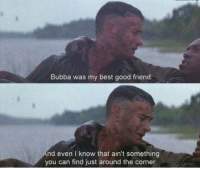 Forrest Gump: Bubba was my best good friend.  nd even I know that ain't something  you can find just around the corner. Forrest Gump
