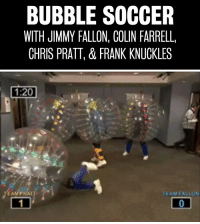 """Chris Pratt, Jimmy Fallon, and Soccer: BUBBLE SOCCER  WITH JIMMY FALLON, COLIN FARRELL,  CHRIS PRATT, & FRANK KNUCKLES <p><span>Jimmy </span><a href=""""http://www.youtube.com/watch?v=vCIT8d6lpqQ"""" target=""""_blank"""">had a couple technical difficulties</a><span> during Bubble Soccer with Colin Farrell, Chris Pratt and Frank Knuckles.</span></p>"""