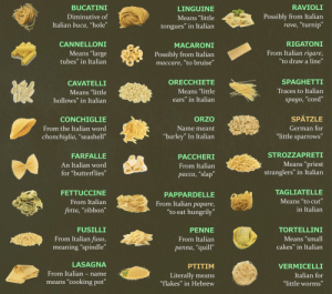 """Army, Lasagna, and Meaning: BUCATINI  Diminutive of  Italian buca, """"hole""""  LINGUINE  Means """"little  tongues"""" in Italian  RAVIOLI  Possibly from Italian  rava, """"turnip""""  CANNELLONI  RIGATONI  Means """"large  tubes"""" in Italian  MACARONI  Possibly from Italian  maccare, """"to bruise""""  From Italian rigare,  """"to draw a line""""  CAVATELLI  Means """"little  hollows"""" in Italian  ORECCHIETE  Means """"little  ears"""" in Italian  SPAGHETTI  Traces to Italian  spago, cord  CONCHIGLIE  From the Italian word  chonchiglia, 'seashell""""  ORZO  Name meant  """"barley"""" In Italian  SPATZLE  German for  little sparrows  FARFALLE  An Italian word  for """"butterflies  PACCHERI  From Italian  pacca, """"slap  STROZZAPRETI  Means """"priest  stranglers"""" in Italian  FETTUCCINE  From Italian  fetta, """"ribbon""""  PAPPARDELLE  From Italian papare,  to eat hungrily  TAGLIATELLE  Means """"to cut  in Italiarn  FUSILLI  From Italian fuso,  meaning·'spindle  PENNE  From Italian  TORTELLINI  Means """"small  cakes"""" in Italian  penna, quill  LASAGNA  From Italian - name  means """"cooking pot  PTITIM  Literally means  flakes"""" in Hebrew  VERMICELLI  Italian for  """"little worms"""" List of Ordinance for Italian Army, 1939"""