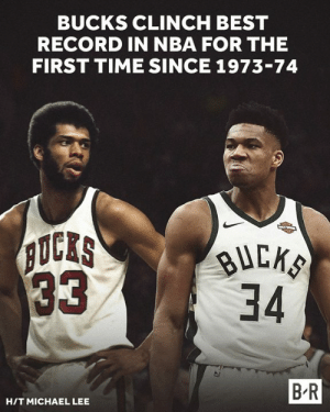 Nba, Best, and Michael: BUCKS CLINCH BEST  RECORD IN NBA FOR THE  FIRST TIME SINCE 1973-74  3334  B-R  HIT MICHAEL LEE Will Giannis finish the season with an MVP like Kareem did? 👀