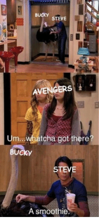 iCarly inspired these funny trending memes! #iCarly #TrendingMemes #FunnyMemes: BUCKY  STEVE  AVENGERS  Um  tcha got there?  BUCKY  STEVE  A smoothie iCarly inspired these funny trending memes! #iCarly #TrendingMemes #FunnyMemes