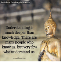 Buddhism: Buddha's Teaching & Science  Understanding is  much deeper than  knowledge. There are  many people who  know us, but very few  who understand us.  e-buddhism com