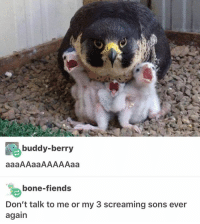 Bones, Memes, and Scream: buddy-berry  aaaAAaaAAAAAaa  bone-fiends  Don't talk to me or my 3 screaming sons ever  again I have a fucking 2-hour delay and now my whole day is fucked up cause I had 2 tests and a presentation ≪sam≫