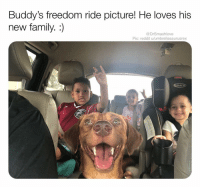 Brb gonna cry tears of joy bless up 😥😍😍❤️: Buddy's freedom ride picture! He loves his  new family. :)  @DrSmashlove  Pic: reddit u/umbrellasaurusrex  GRACO Brb gonna cry tears of joy bless up 😥😍😍❤️