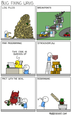Devil, Programming, and Com: BUG FIXING WAYS  BREAKPOINTS  LOG FILES  STACKOVERFLOW  PAIR PROGRAMMING  THIS CODE IS  QUACKED UP  COPY  CPASTA  CODE  BASE  REBRANDING  PACT WITH THE DEVIL  FEATURE  MONKEYUSER.COM Bug Fixing Ways