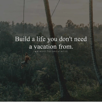 Life, Memes, and Vacation: Build a life you don't need  a vacation from.  OMINDSETOFGREATNESS If your boss said take two weeks off paid leave. Where would you go? Follow: @mindsetofgreatness - successes