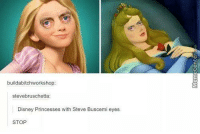 No one should have this much power.: build abitchworkshop  stevebruschetta:  Disney Princesses with Steve Buscemi eyes  STOP No one should have this much power.
