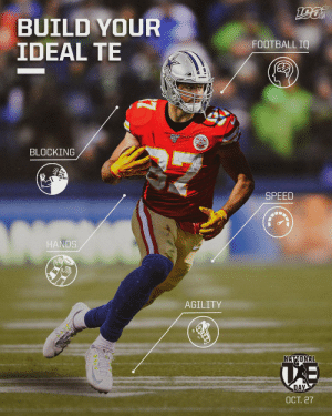 Witten's football IQ? Kittle's speed? Engram's agility?  Which players make up YOUR perfect TE?   🗓: #NationalTightEndsDay | TOMORROW https://t.co/e8zTRuJzE7: BUILD YOUR  IDEAL TE  FOOTBALL IQ  BLOCKING  SPEED  HANDS  AGILITY  NATIONAL  DAY  ОСТ. 27 Witten's football IQ? Kittle's speed? Engram's agility?  Which players make up YOUR perfect TE?   🗓: #NationalTightEndsDay | TOMORROW https://t.co/e8zTRuJzE7