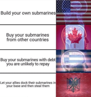 Greetings from Albania everybody: Build your own submarines  Buy your submarines  from other countries  Buy your submarines with debt  you are unlikely to repay  Let your allies dock their submarines in  your base and then steal them Greetings from Albania everybody