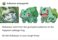 Be Like, Bulbasaur, and Pokemon: bulbasaur-propaganda  0  Bulbasaur went from the grumpiest pokemon to the  happiest cabbage frog.  Be like Bulbasaur in your tough times. <p>Wholesome Bulbasaur</p>