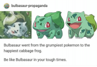 Be Like, Bulbasaur, and Pokemon: bulbasaur-propaganda  Bulbasaur went from the grumpiest pokemon to the  happiest cabbage frog.  Be like Bulbasaur in your tough times.
